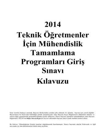 2014 Teknik Öğretmenler İçin Mühendislik Tamamlama Programları