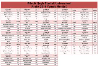 Bilecik Şeyh Edebali Üniversitesi Aralık 2014 Yemek Menüsü