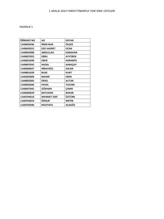 1 aralık 2014 tarihi itibariyle yeni sınıf listeleri hazırlık 1