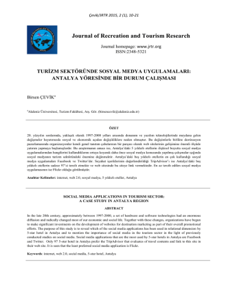Abstract - Journal of Recreation and Tourism Resarch