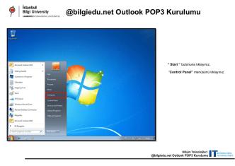 @bilgiedu.net Outlook POP3 Kurulumu
