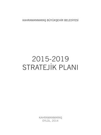 2015-2019 stratejik planı - Kahramanmaraş Büyükşehir Belediyesi