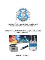 Tıbbi Biyokimya Anabilim Dalı Öğrenci Laboratuvarı Çalışma Kılavuzu
