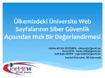 Ülkemizdeki Üniversite Web Sayfalarının Siber Güvenlik - Inet-tr