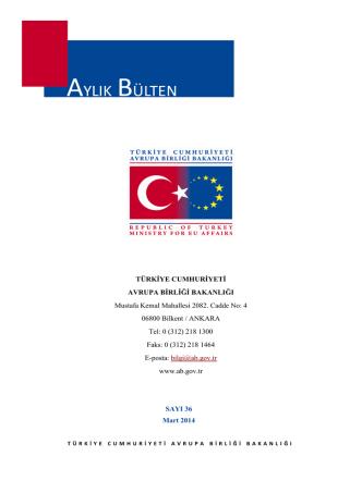 Aylık Bülten Mart 2014 - Avrupa Birliği Bakanlığı