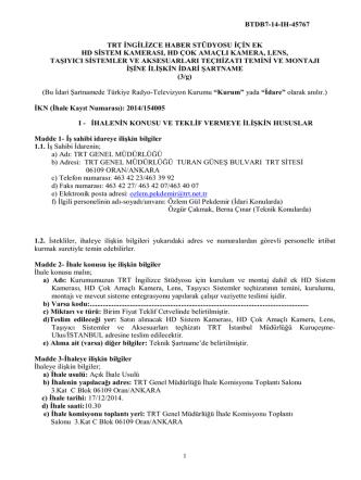 btdb7-14-ıh-45767 trt ingilizce haber stüdyosu için ek hd sistem