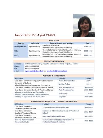 Assoc. Prof. Dr. Aysel YAZICI
