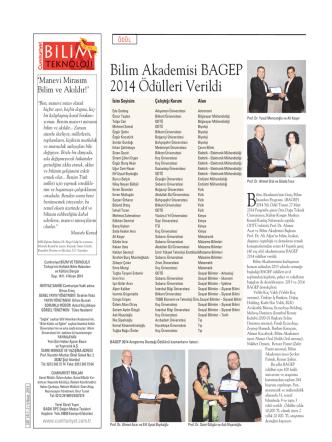 Bilim Akademisi BAGEP 2014 Ödülleri Verildi