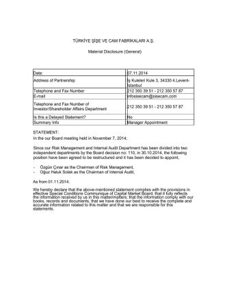 07.11.2014 Address of Partnership