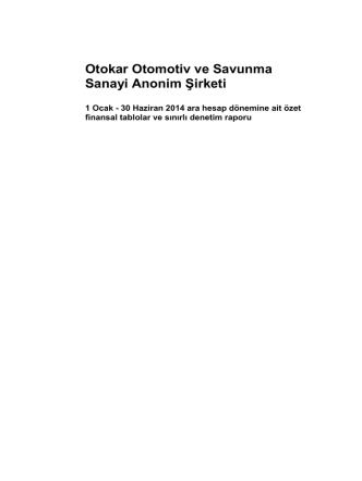 30 Haziran 2014 Hesap Dönemine ait Mali Tablolar ve Bağ