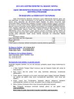 2014-2015 eğitim öğretim yılı bahar yarıyılı uşak üniversitesi
