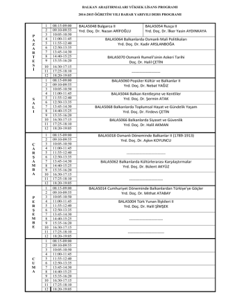 BALA5048 Bulgarca II Yrd. Doç. Dr. Nazan ARİFOĞLU BALA5054