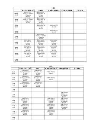 1-01 pazartesi salı çarşamba perşembe cuma 1