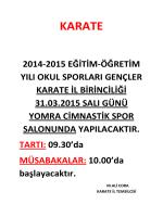 KARATE - Trabzon Gençlik ve Spor İl Müdürlüğü
