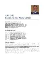 Ö ZGEÇMİ Ş Prof. Dr. AHMET METE SAATÇİ