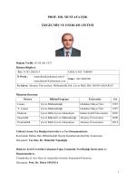 Akademik CV - Çevre Mühendisliği Bölümü