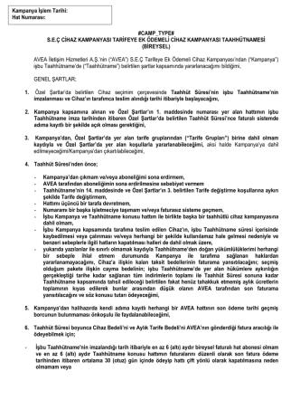 #CAMP_TYPE# S.E.Ç CİHAZ KAMPANYASI TARİFEYE EK