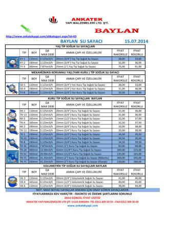 BAYLAN SU SAYACI 15.07.2014