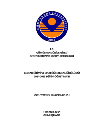 besyo 2014-2015 özel yetenek sınavı başvuru kılavuzu