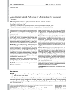 Anaesthetic Method Preference of Obstetricians for