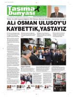 Taşıma Dünyası Gazetesi-157 PDF 6 Ekim 2014 tarihli sayısını