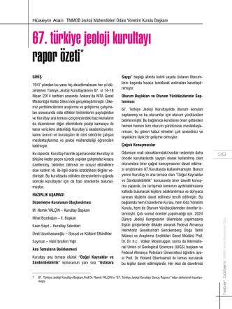 67. türkiye jeoloji kurultayı rapor özeti*