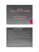 Ders-6 Analiz Evresi ve Sistem Analizi Modeli