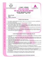 8. SINIF DİN KÜLTÜRÜ VE AHLAK BİLGİSİ TESTİ 2014