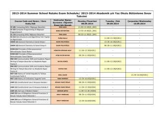 2013-2014 Akademik yılı Yaz Okulu Bütünleme Sınav Takvimi