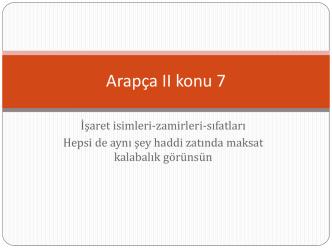 Arapça II konu 7