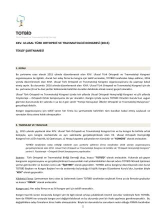 25. Ulusal Türk Ortopedi ve Travmatoloji Kongresi Şartnamesi