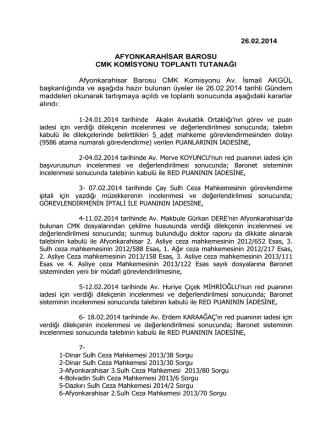 26.02.2014 AFYONKARAHİSAR BAROSU CMK KOMİSYONU