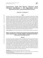 Argümantasyon Tabanlı Bilim Öğrenme Yaklaşımına Dayalı