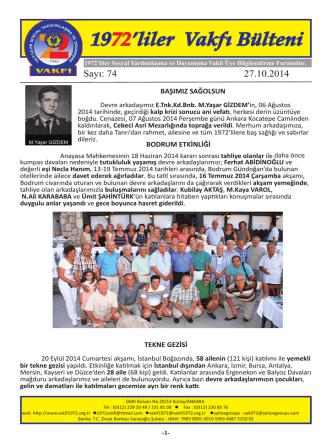 Bülten 74*TIKLAYINIZ - 1972liler Sosyal Yardımlaşma ve