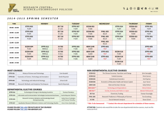 2014-2015 sprıng semester - Science And Technology Policy Studies