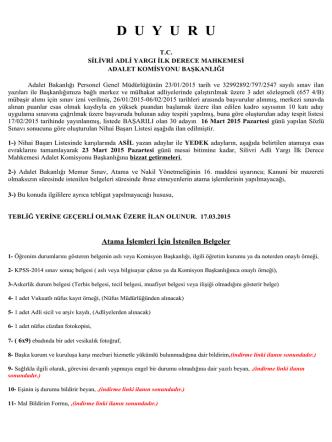 (657 4/B) MÜBAŞİR Nihai Başarı Listesi 17.03.2015