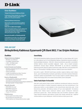 Birleştirilmiş Kablosuz Eşzamanlı Çift Bant 802.11ac Erişim - D-Link