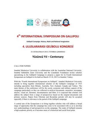 call for papers - Çanakkale Vakfı