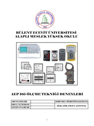 DENEY NO: 1 - Bülent Ecevit Üniversitesi