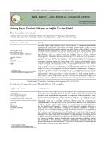 Oolong Çayın Üretimi, Bileşimi ve Sağlık Üzerine Etkisi