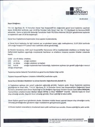 23.08.2014 Tarihli Ege Koop. 25.Yıl Konutları Konut Yapı Kooperatifi