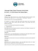 Volkswagen Doğuş Finansman A.Ş. 2012 Yılı Faaliyet Raporu