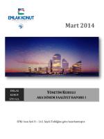31 Mart 2014 Dönemi Faaliyet Raporunu