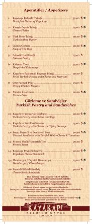 Aperatifler / Appetizers Gözleme ve Sandviçler Turkish Pastry and