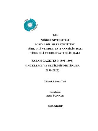 (1895-1898, İNCELEME VE SEÇİLMİŞ METİNLER. 2191