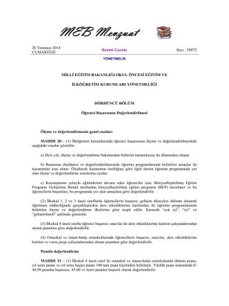 29072 MİLLÎ EĞİTİM BAKANLIĞI OKUL ÖNCESİ EĞİTİM VE