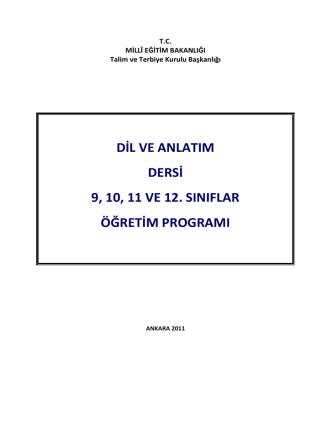 2014-2015 Öğretim Dönemi 9-12. Sınıf Dil ve Anlatım Müfredatı