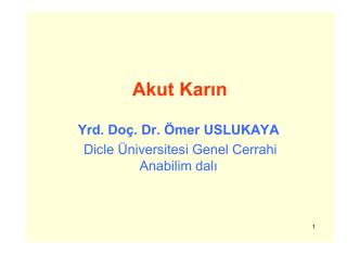Akut Karın - Dicle Üniversitesi