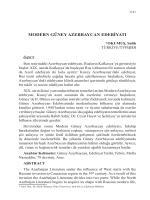 OKUMUŞ, Salih-MODERN GÜNEY AZERBAYCAN EDEBİYATI