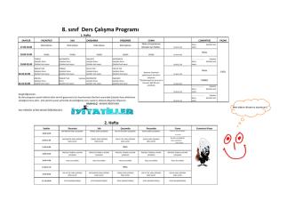 8. sınıf Ders Çalışma Programı